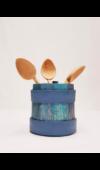 Újragondolt eredeti fa kupa három salátás kanállal