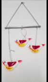 Piros madaras üveg függődísz