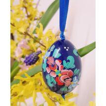 Kék, kézműves húsvéti fatojás