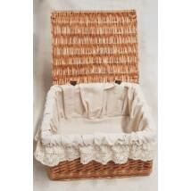 Békési fedeles fonott tároló doboz, népies béléssel, 30 cm