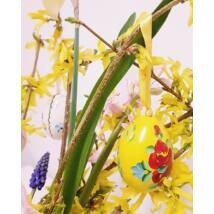 Sárga, kézműves húsvéti fatojás