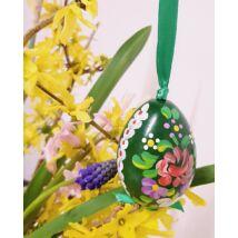 Zöld, kézműves húsvéti fatojás