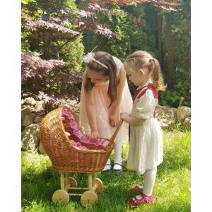 Fonott nagy játék babakocsi, rózsaszín béléssel