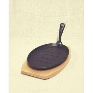 Öntöttvas serpenyő, fa deszkával, 26 cm