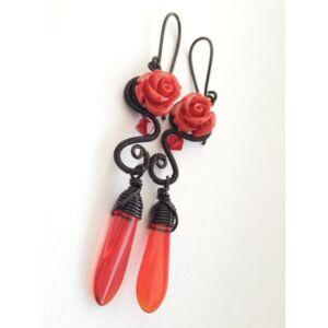 Fekete és piros rózsa fülbevaló