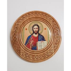Kerek fali Jézus szentkép, fatáblán
