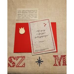Szerelmes üzenet elültethető magpapíron, tulipános, piros borítékban