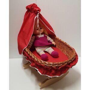Fonott nagy játék bababölcső, piros béléssel