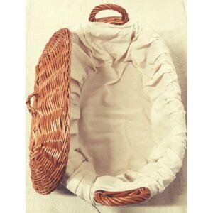 Ovális, békési fedeles fonott kosár, népies béléssel - 37 cm