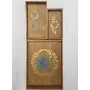 Kézzel festett festett fa tálca szett – 3 darabos