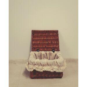 Békési fedeles fonott tároló doboz, népies béléssel, 17 cm