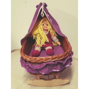 Fonott nagy játék bababölcső, lila béléssel