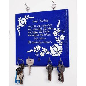 Kézműves kék Házi Áldás fali kulcstartó - Minőségi termékdíjas