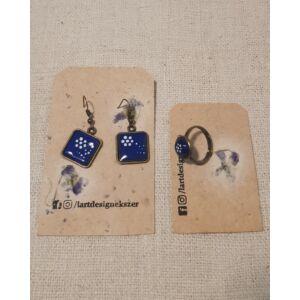 Kékfestő mintás tűzzománc fülbevaló és gyűrű szett