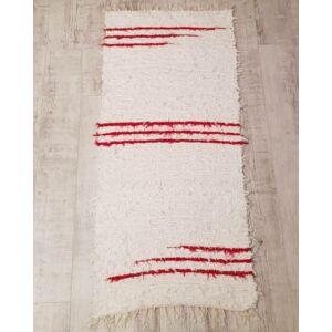 Kézzel szőtt piros-fehér szőnyeg, pamutból, 170 cm