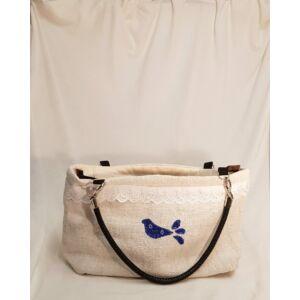 Kézműves női táska zsákvászonból – kékfestős madaras mintával