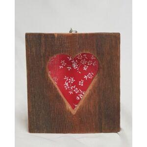 Kézműves, rusztikus falikép, piros szives mintával