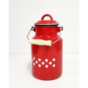Piros, pöttyös zománcozott tejeskanna, 2 literes