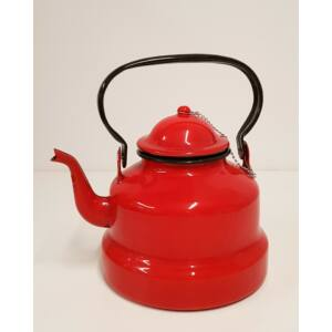 Piros zománcozott teáskanna, 3 literes
