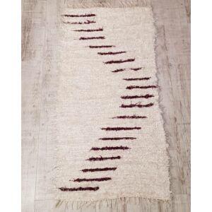 Kézzel szőtt, lila csíkos selyem szőnyeg, 160 cm