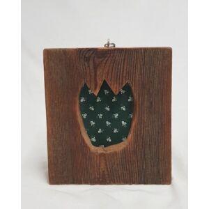 Kézműves, rusztikus falikép, zöld tulipános mintával