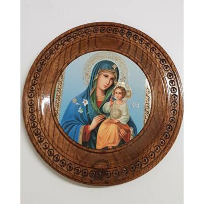 Jézus és Mária szentkép, kerek középbarna fatáblán - 23 cm