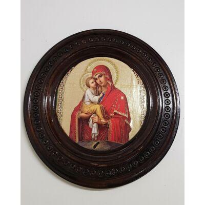 Jézus és Mária szentkép, kerek sötét fatáblán - 24 cm