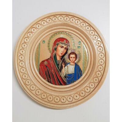 Jézus és Mária szentkép, kerek világos fatáblán - 25 cm