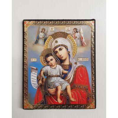 Mária és Jézus szentkép fatáblán, 10 cm