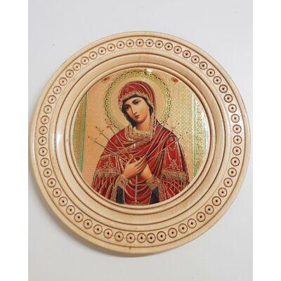 Mária szentkép, kerek fatáblán - 23 cm