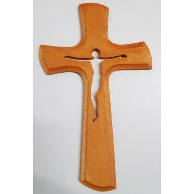 Naturális fa kereszt Jézus sziluettel, barna színben