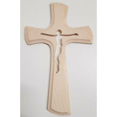 Naturális fa kereszt Jézus sziluettel, világos színben