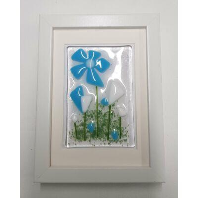 Búzavirágos üvegkép keretben