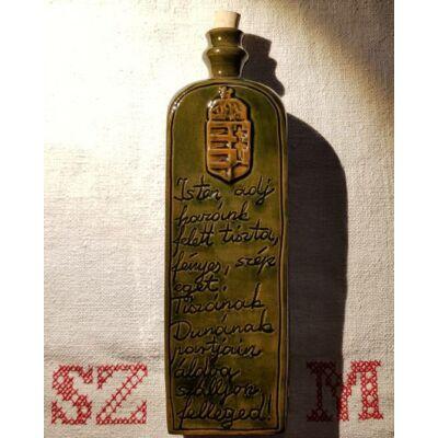 Nagy pálinkás kerámia butella, Isten adj...Ó én kedves edényem...felirattal