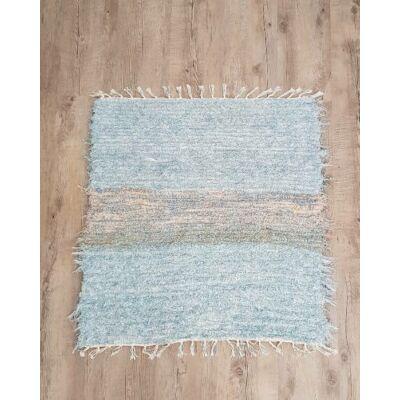 Kézzel szőtt, világos kék, zsenília szőnyeg, 81 cm