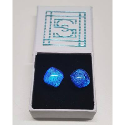 Kék tündérrózsa üvegékszer fülbevaló