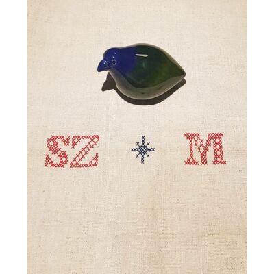 Kerámia madár - kékfejű