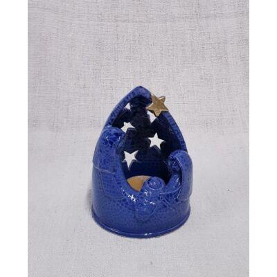 Kerámia betlehem mécsestartó, kék márvány - 13 cm