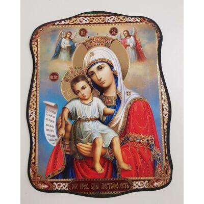 Mária és a gyermek Jézus, koronával ábrázolva szentkép, falikép fatáblán - 19 cm