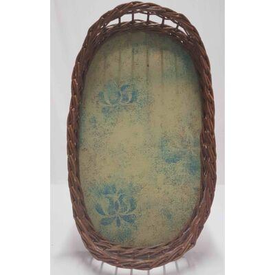 Nagy ovális fonott tálca vaníliás kék