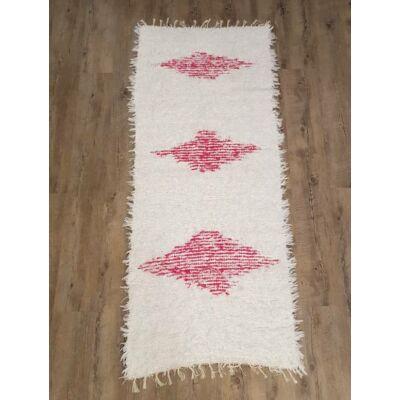 Kézzel szőtt rózsaszín-fehér színű pamut szőnyeg, 187 cm