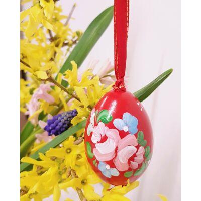 Piros, kézműves húsvéti fatojás