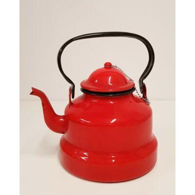 Piros zománcozott teáskanna, 2 literes