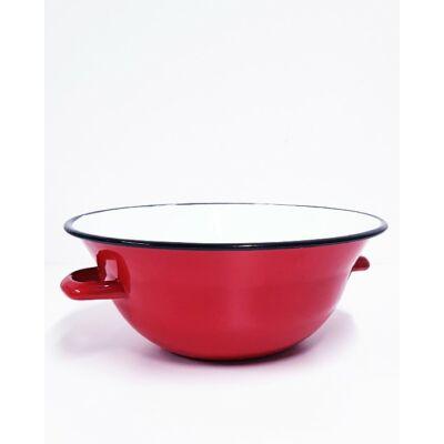 Piros zománc vájling, 4 literes, 30 cm