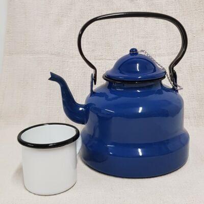 Kék zománcozott teáskanna, 3 literes