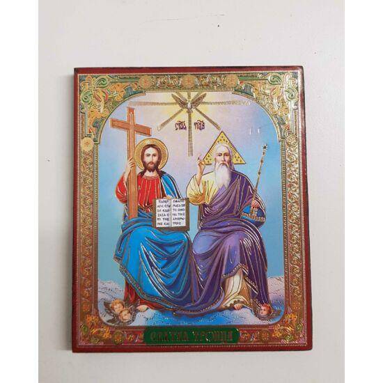 Az Atya, a Fiú és a Szentlélek szentkép fatáblán, 12 cm