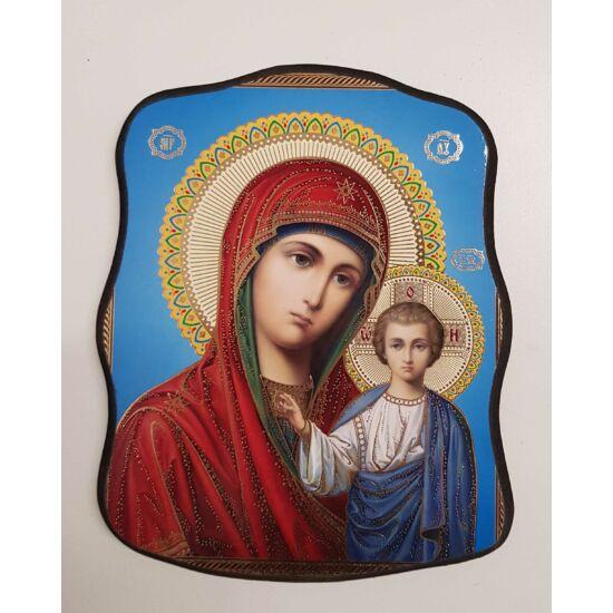Mária és Jézus szentkép fatáblán, 18 cm