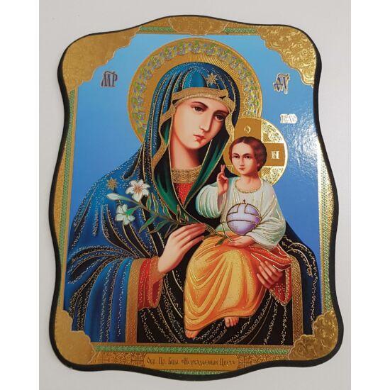 Mária és a gyermek Jézus szentkép, falikép fatáblán virággal - 23 cm