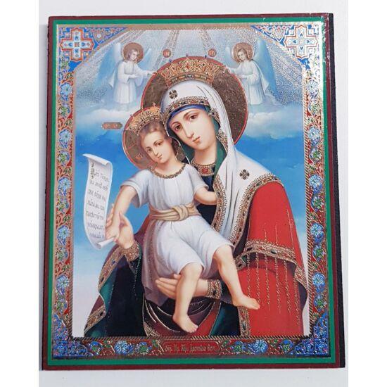 Mária és a gyermek Jézus kis szentkép, falikép fatáblán - 18 cm