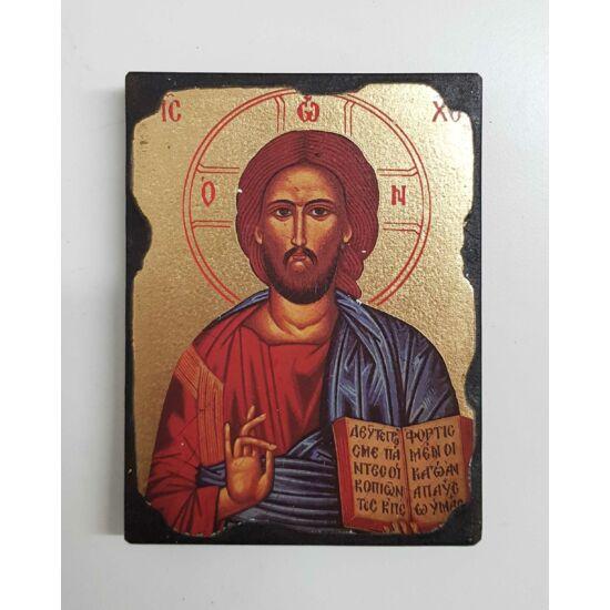 Régies kialakítású szentkép fatáblán, 12 cm